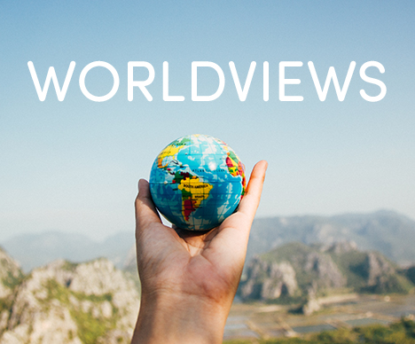World Views. Worldviews. How To Share The Gospel With People of Different Religions. Image of a hand holding a small globe.