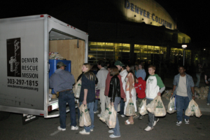 Teens-gather-canned-food-Denver-Coloseum