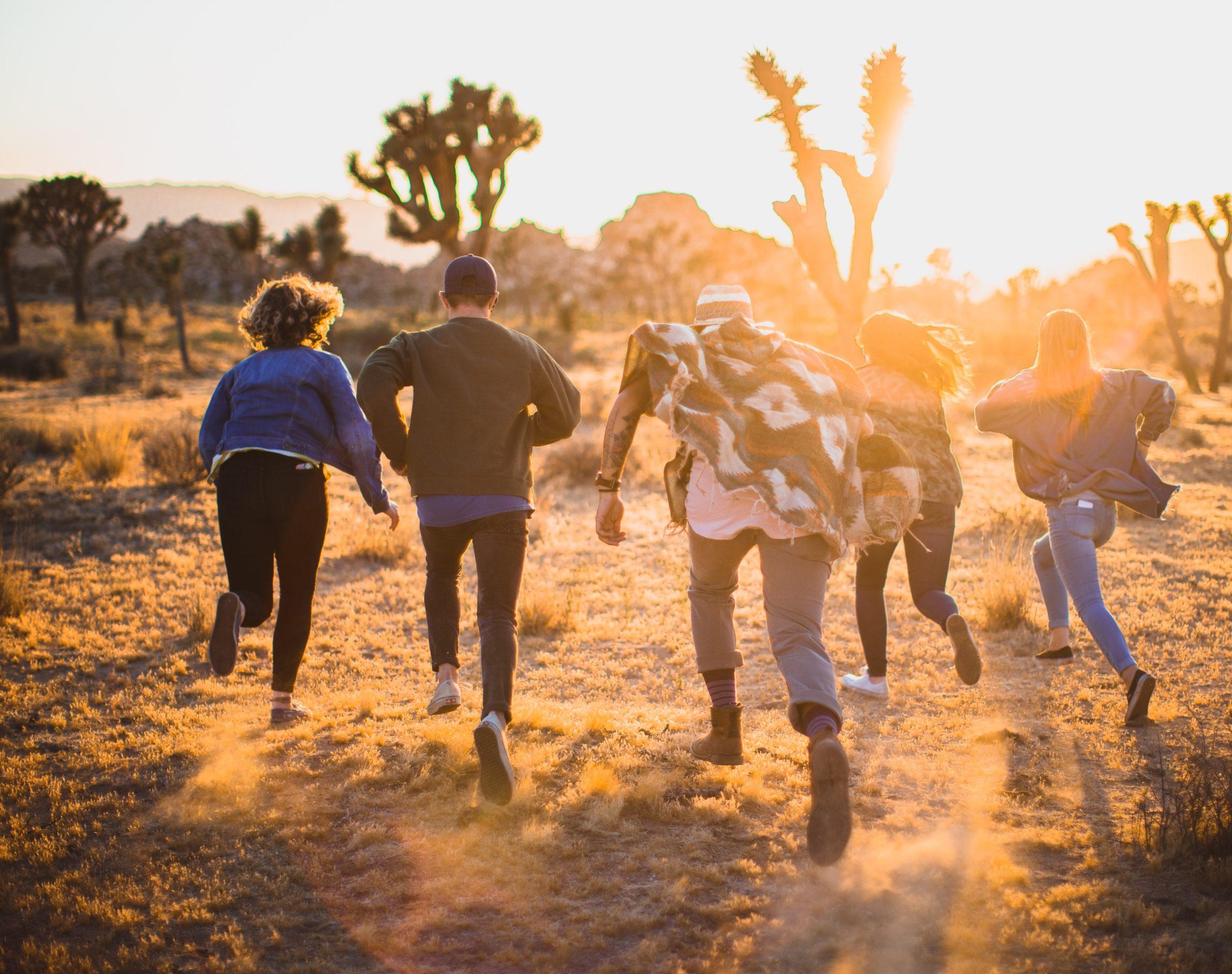 A group of teens runs into the desert around sunset
